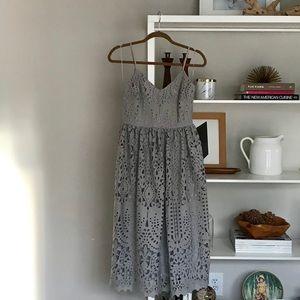 Asos Gray Midi Cutout Dress